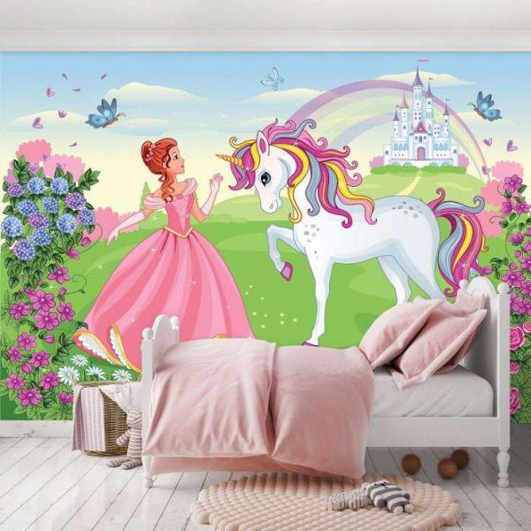 Fototapet decorativ pentru camera de fetite - UniCorn - Vlies/ 368x254cm/4p.