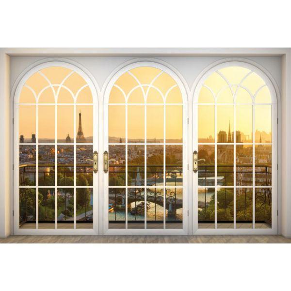Fototapet decorativ fotoluminos - Parisul de la fereastra - Vlies