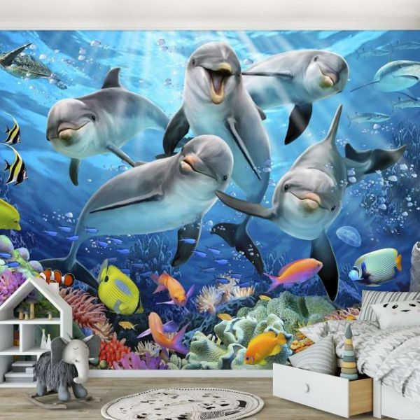 Fototapet decorativ - Delfini - 368x254 cm /Vlies